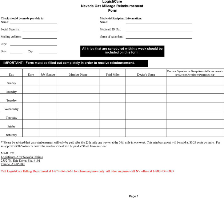 Mileage Reimbursement Form – Mileage Reimbursement Forms