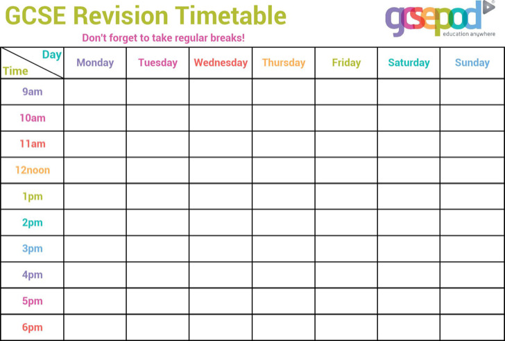 Timetable Templates | Download Free & Premium Templates, Forms ...