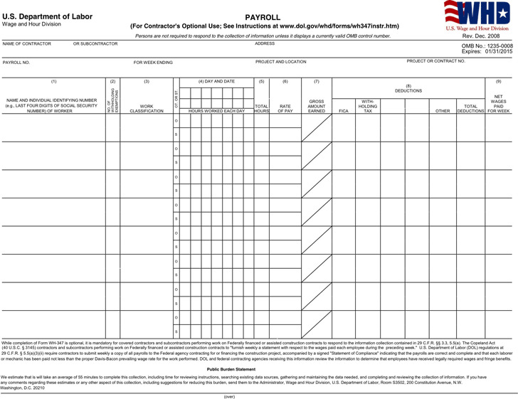 General Certified Payroll Form  Payroll Forms Free