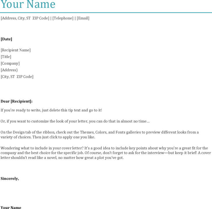 3 General Cover Letter Template Free Download