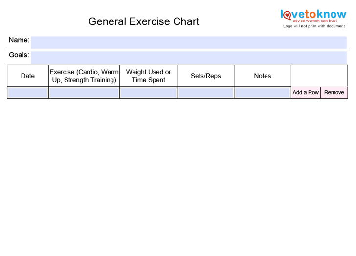 Exercise Chart  Download Free  Premium Templates Forms