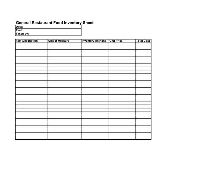 General Food Restaurant Inventory Free PDF