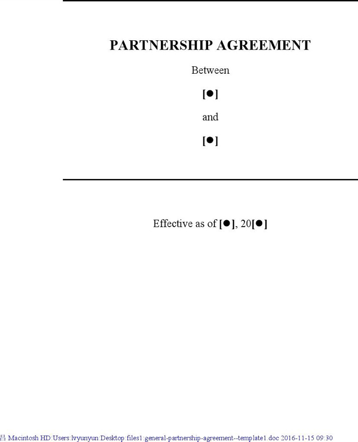 General Partnership Agreement  Template1