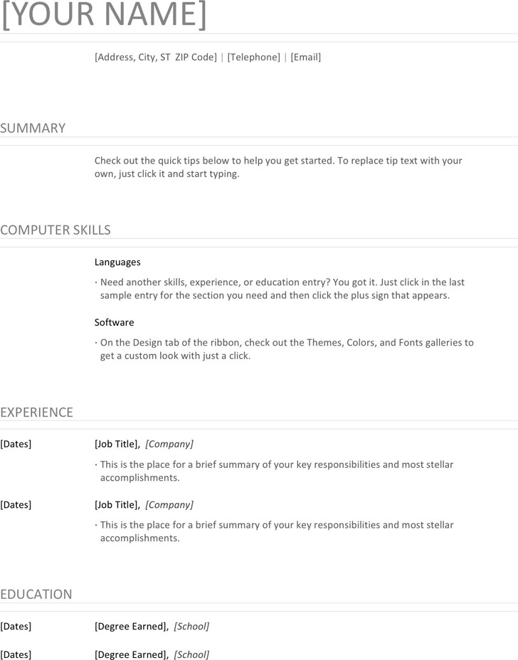 general resume template download free premium