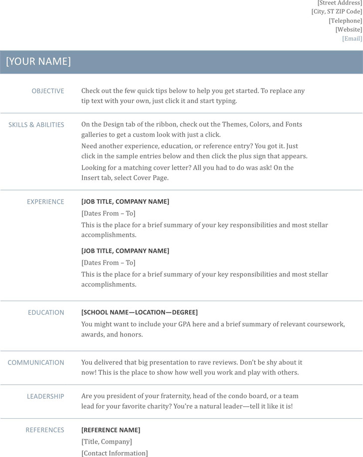 General Resume Template | Download Free & Premium Templates, Forms ...
