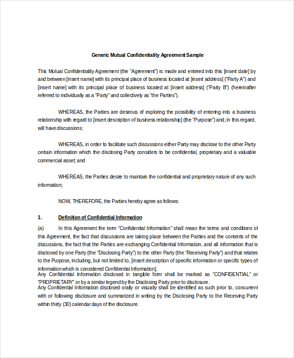 Mutual Confidentiality Agreement Templates  Download Free