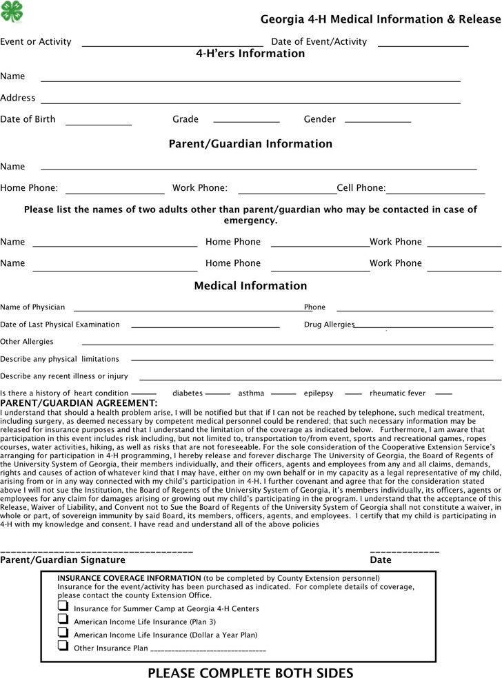 Georgia 4-H Medical Information Release Form
