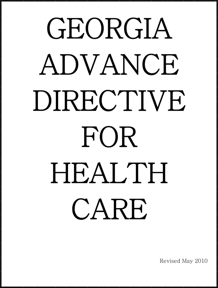 Georgia Advance Health Care Directive Form 1