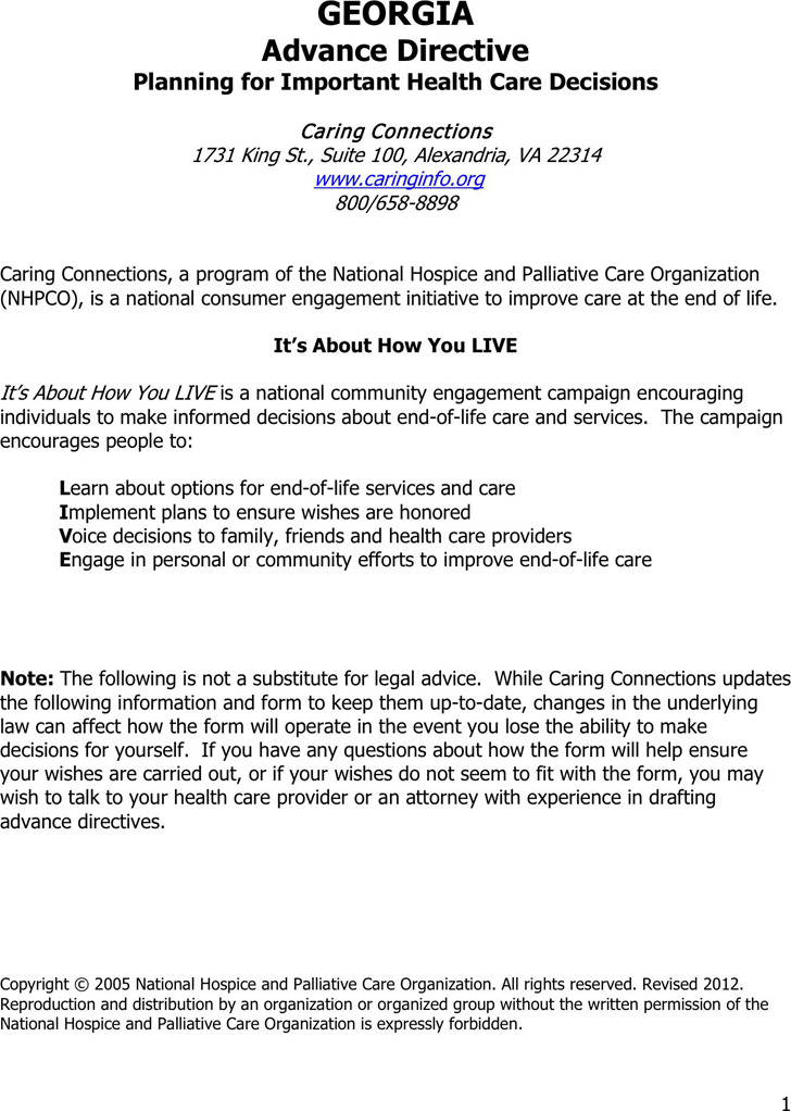 Georgia Advance Health Care Directive Form 2