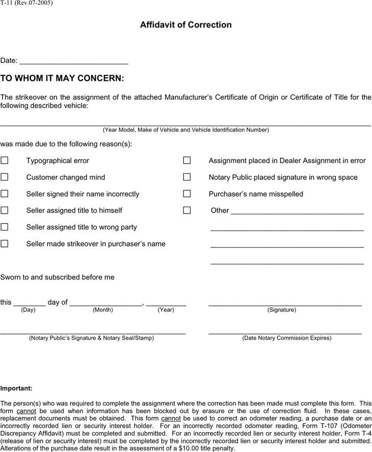 Georgia Affidavit of Correction