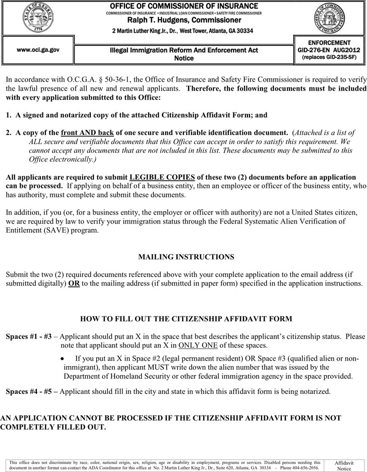 Georgia Citizenship Affidavit Form