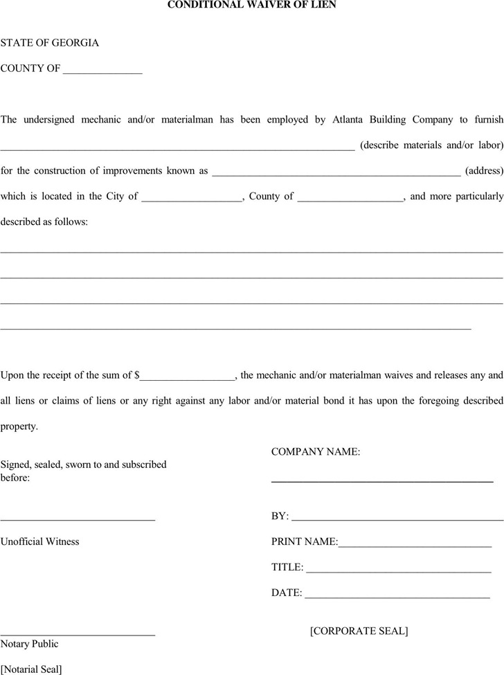 Georgia Conditional Waiver of Lien