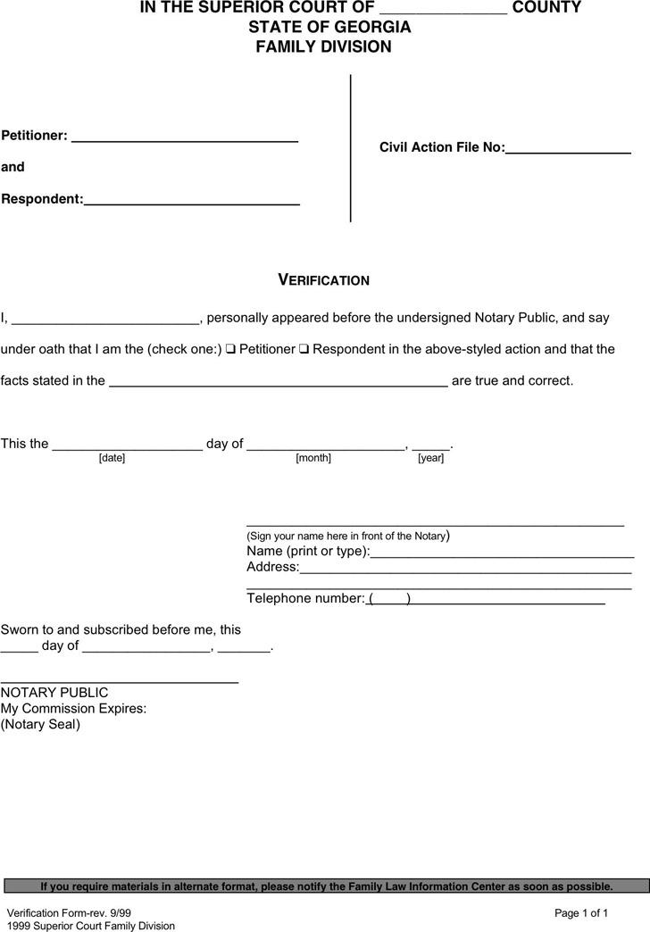 Georgia Divorce Form (Verification)