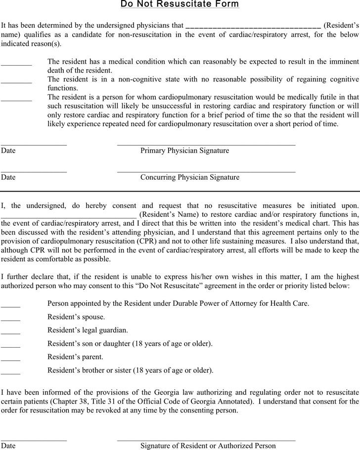 Georgia Do Not Resuscitate Form | Download Free & Premium Templates ...