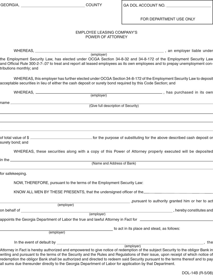 Georgia Employee Leasing Company's Power of Attorney Form