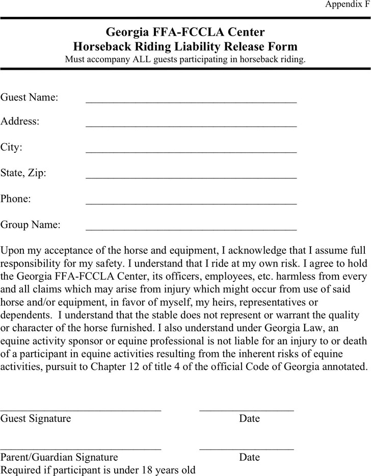 Georgia Horseback Riding Liability Release Form