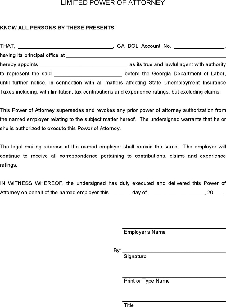 Ga Power Of Attorney Form Images Free Form Design Examples