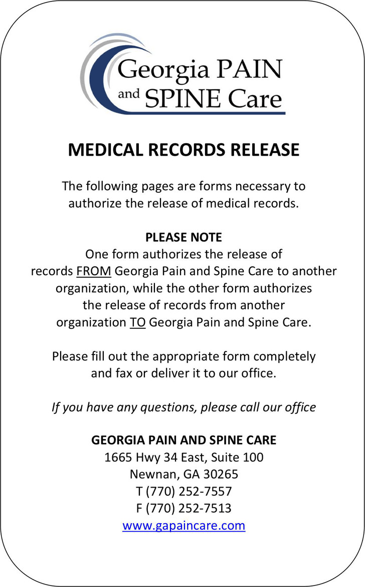 Georgia Medical Records Release Form 1