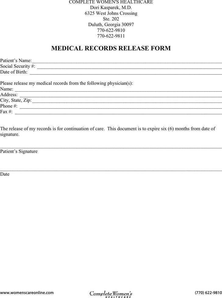 Georgia Medical Records Release Form 3