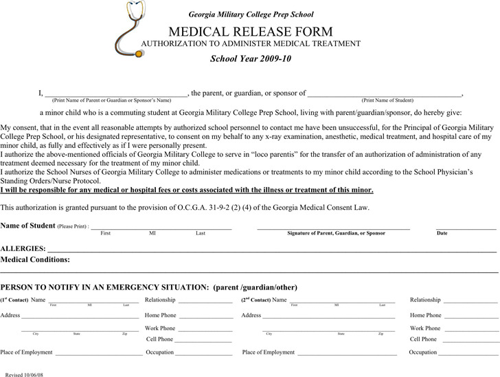 Georgia Medical Release Form 1