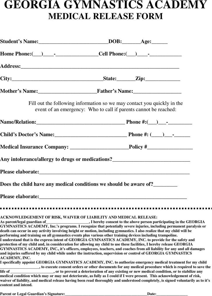 Georgia Medical Release Form 2