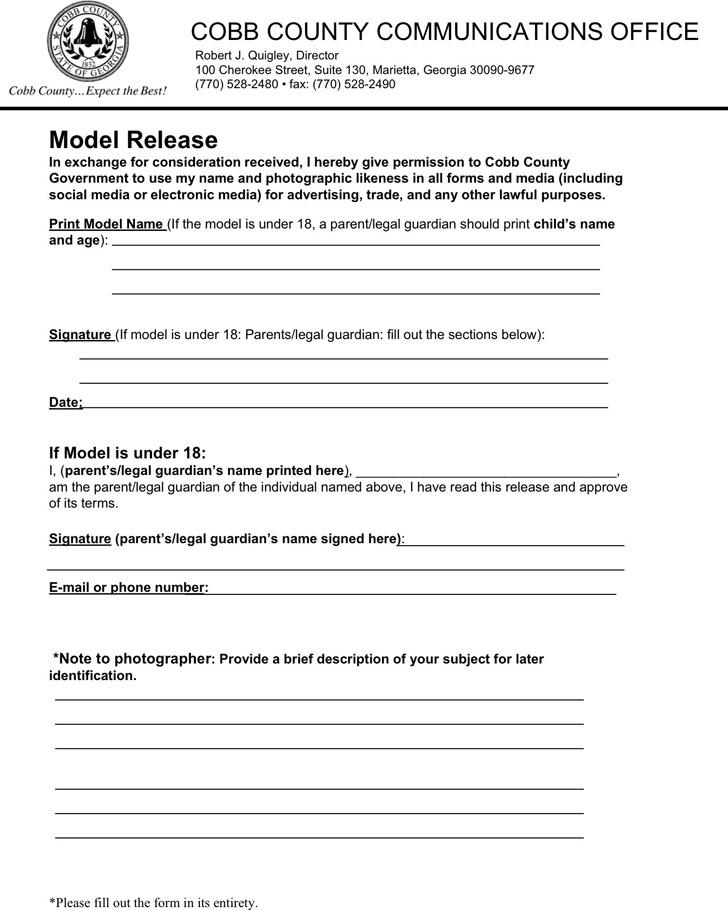 Georgia Model Release Form 3