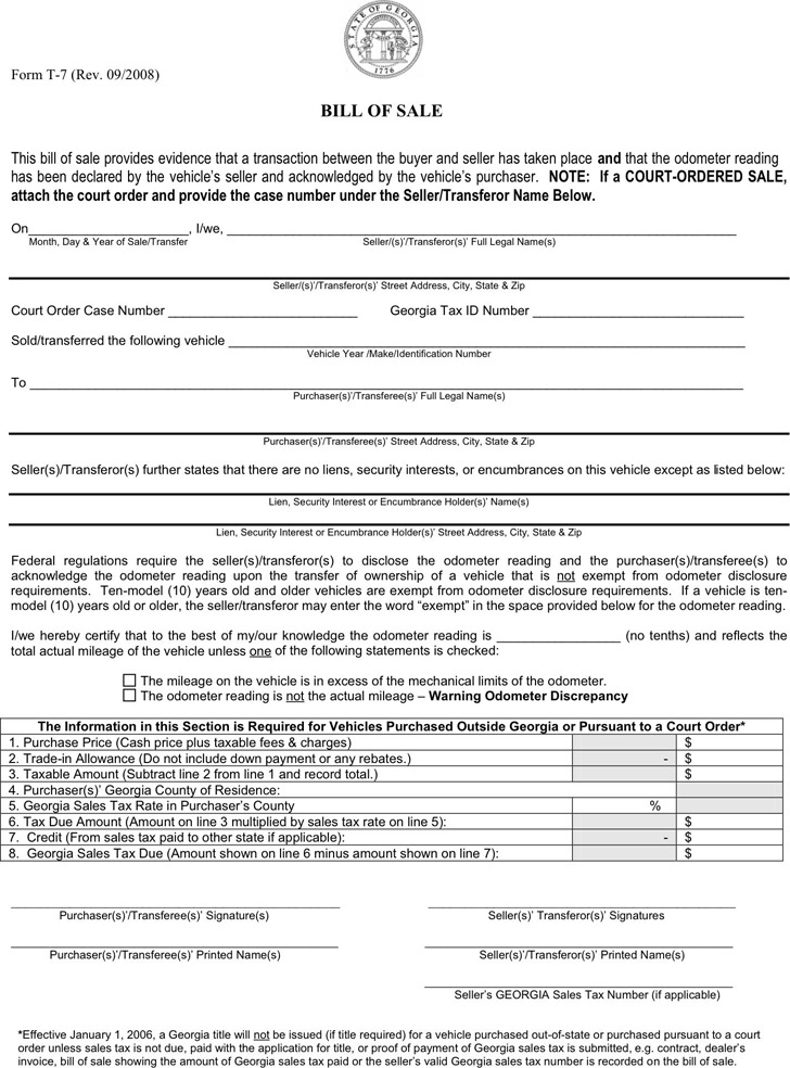 Georgia Motor Vehicle Bill of Sale Form