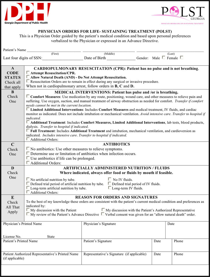 Georgia POLST Form