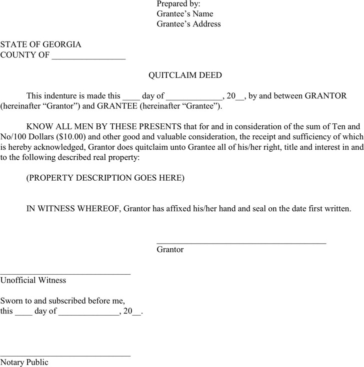 Georgia Quitclaim Deed Form 1