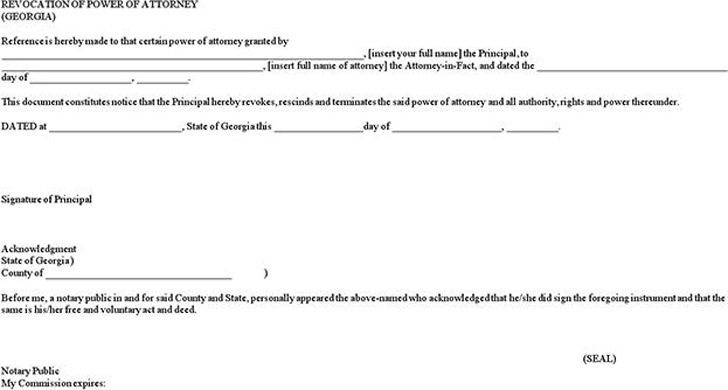 Georgia Revocation Power of Attorney Form