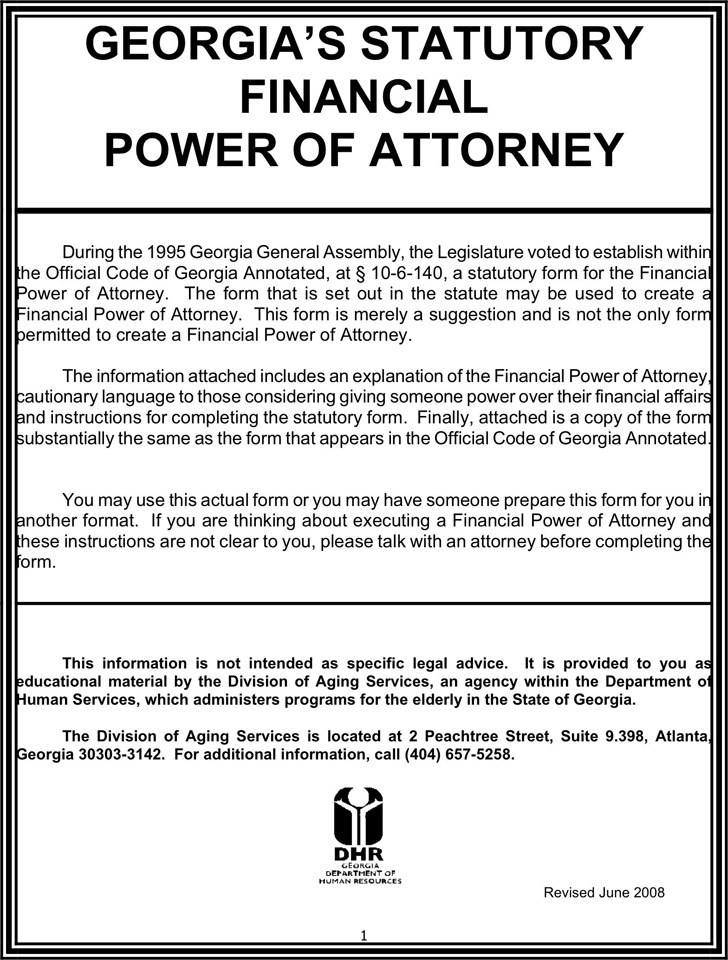 Georgia Statutory Financial Power of Attorney