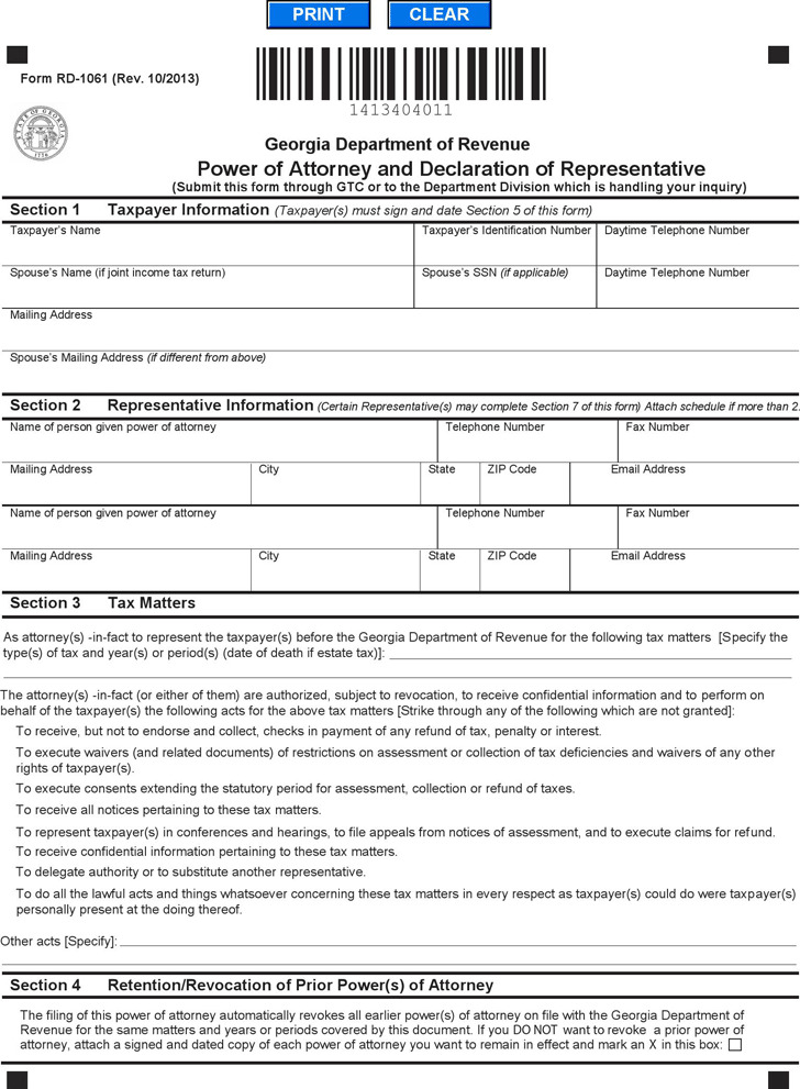 Georgia Tax Power of Attorney Form 1