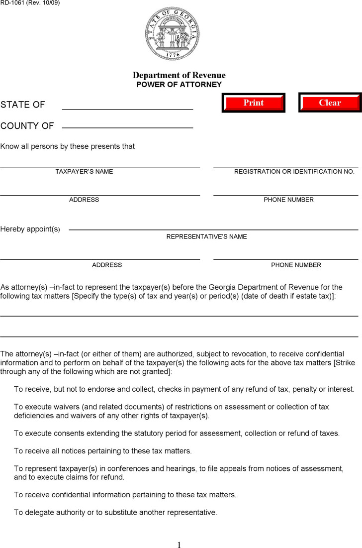 Georgia Tax Power of Attorney Form 2