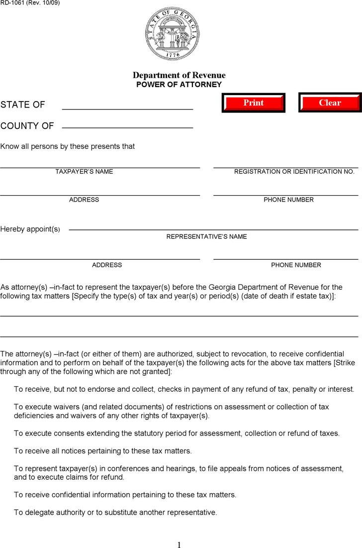 Georgia Power Of Attorney Form Download Free Premium
