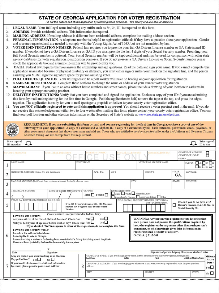 Georgia Voter Registration Application