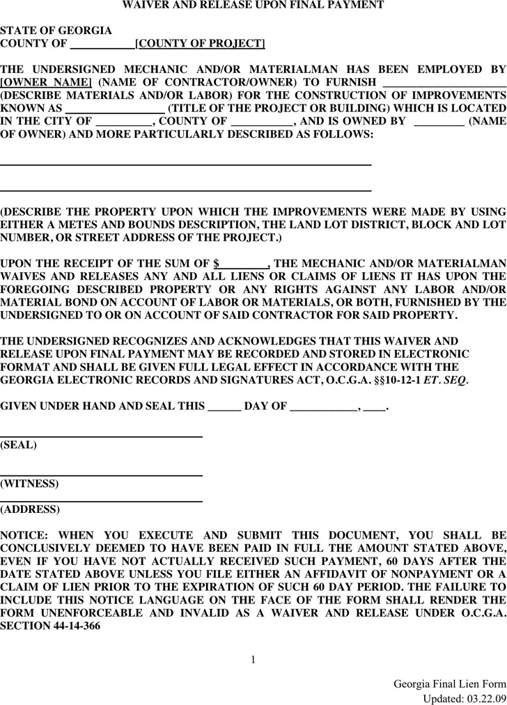 Georgia lien release form download free premium for Final lien waiver template