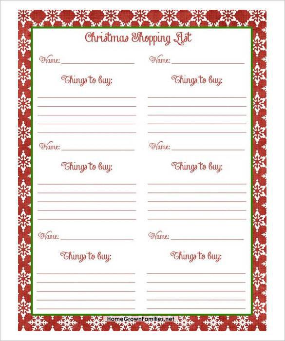 Christmas Gift List Template  Download Free  Premium Templates