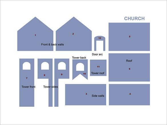 Gingerbread House Church Pattern Template