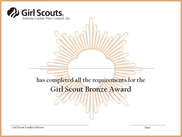 Bronze award certificate template choice image for Girl scout award certificate templates