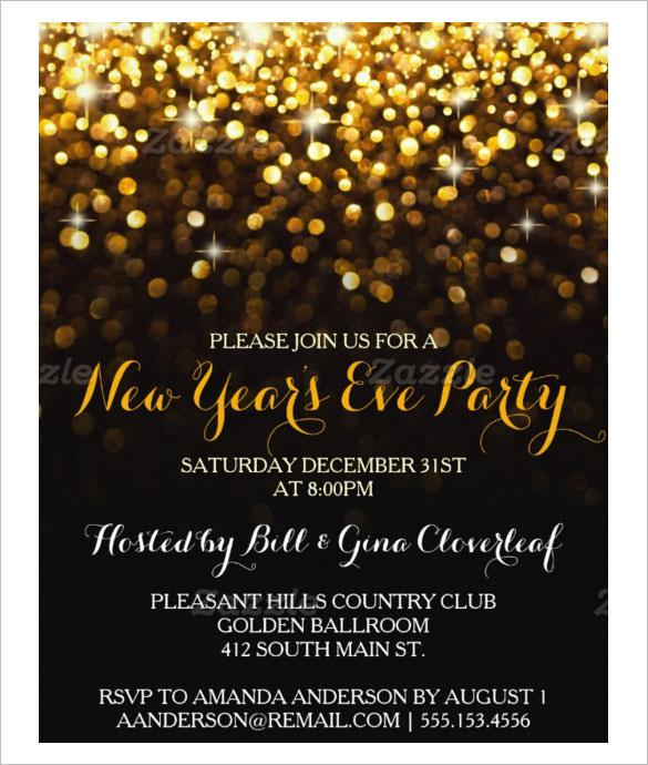 Gold Black New Year's Eve Party Invitation Template