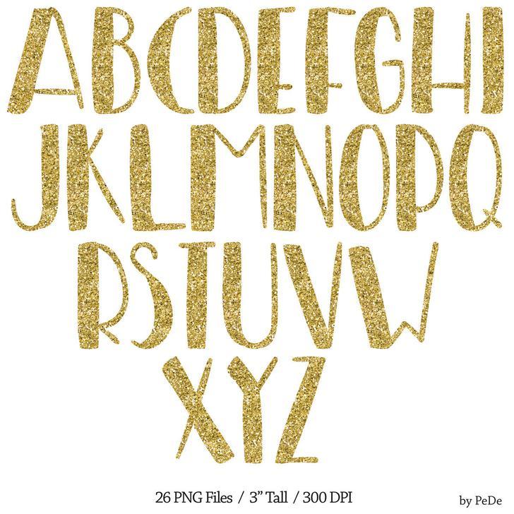 Gold Glitter Alphabets Font