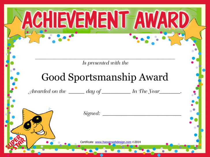 Good Sportsmanship Certificate