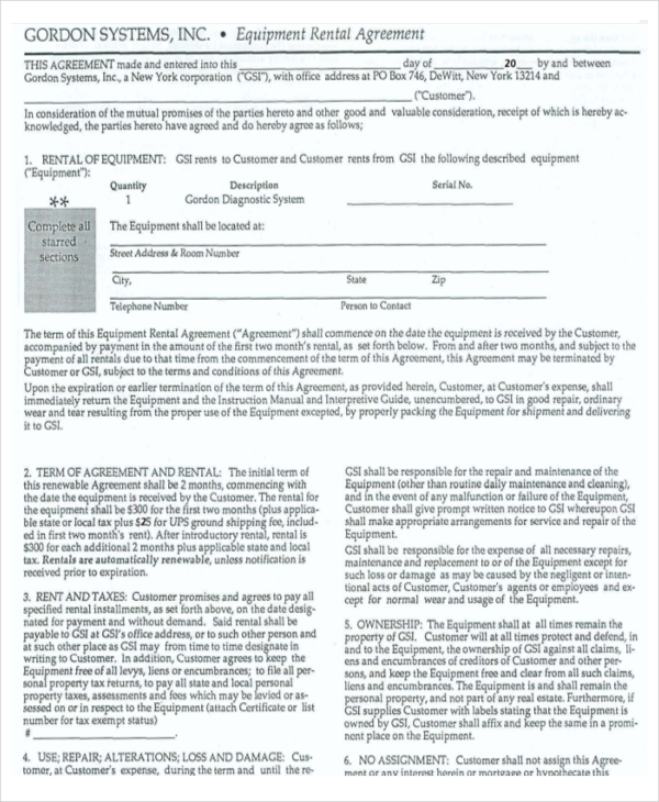 equipment hire form template - equipment rental agreement templates download free