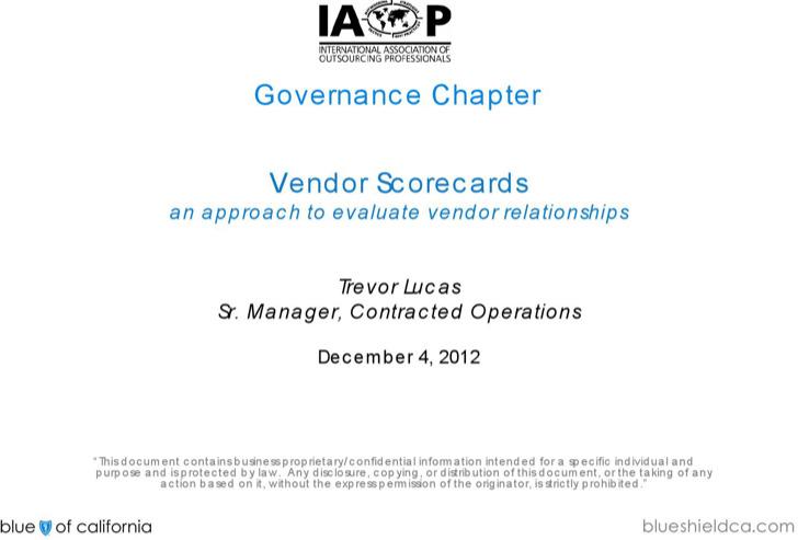 Governance Chapter Vendor Scorecard