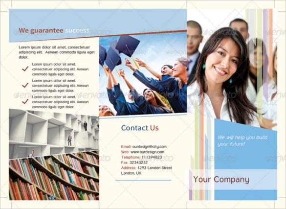 graduation educational tri fold brochure template psd