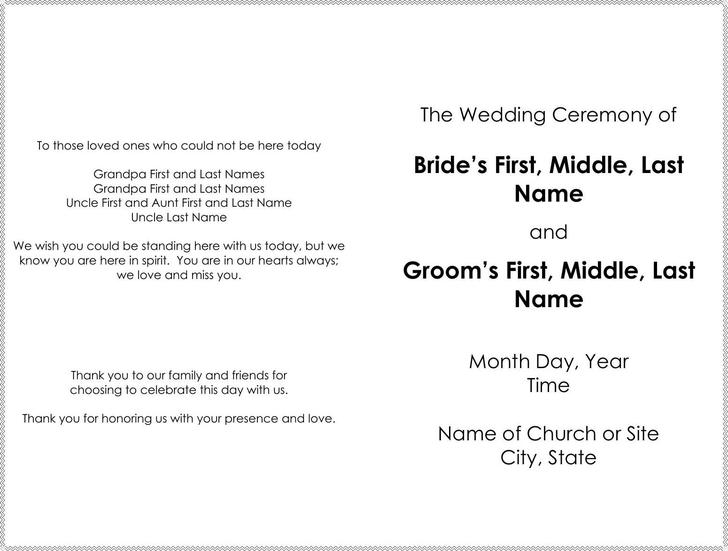 Great Officiants Free Wedding Program Template Word Format