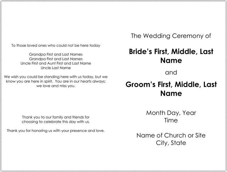Great Officiants Free Wedding Program Template Word Format