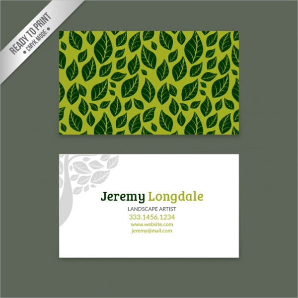 Green Business Card with Leaves