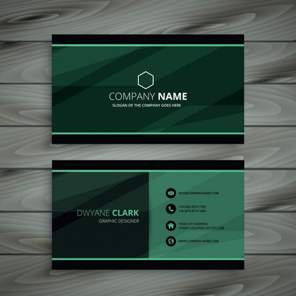 Green Dark Business Card Free Vector Download