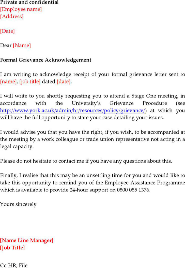 grievance appeal letter template - acknowledgement letter templates download free premium